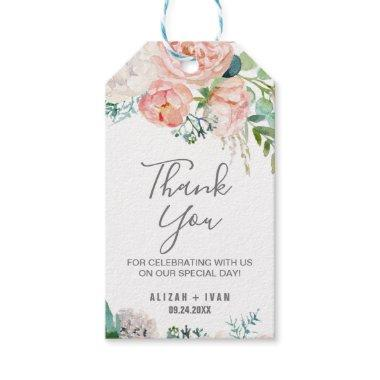 Romantic Peony Flowers Thank You Favor Gift Tags