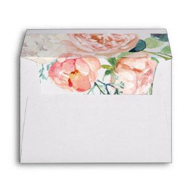 Romantic Peony Flowers Wedding Invitations Envelope