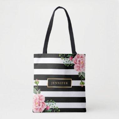 Romantic Pink Floral Black White Stripes Tote Bag