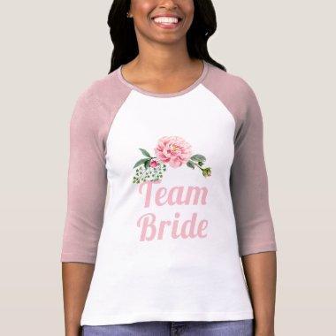 Romantic Pink Floral Team Bride Bachelorette Party T-Shirt
