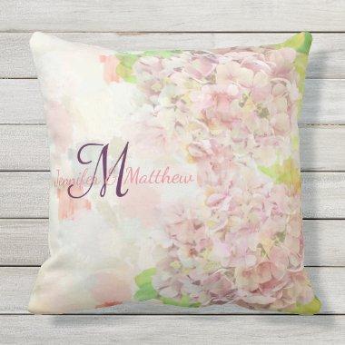 Romantic pink Hydrangea & custom monogram / text Throw Pillow