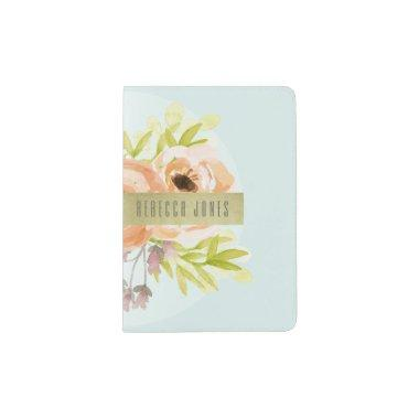 ROMANTIC PINK, PURPLE, BLUE FLORAL MONOGRAM PASSPORT HOLDER