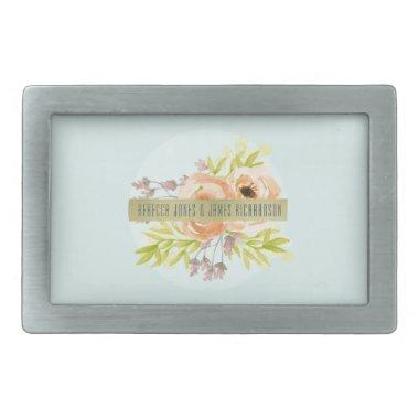 ROMANTIC PINK, PURPLE, BLUE FLORAL MONOGRAM RECTANGULAR BELT BUCKLE
