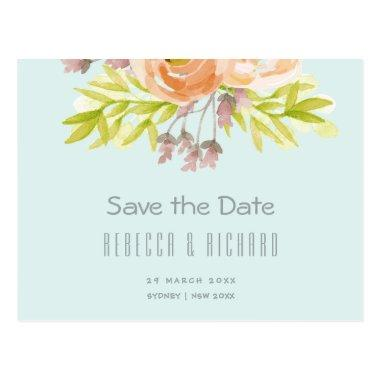 ROMANTIC PINK, PURPLE, BLUE FLORAL Save the date PostInvitations
