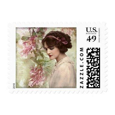 Romantic Victorian Woman Pink Floral, $0.47 Postage