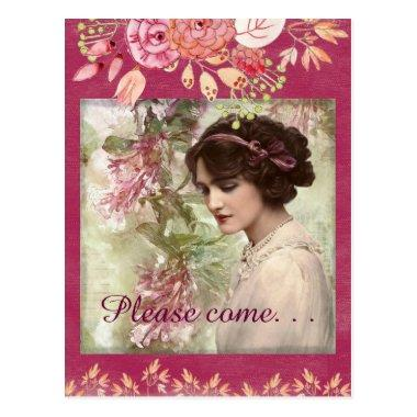 Romantic Victorian Woman Pink Floral PostInvitations