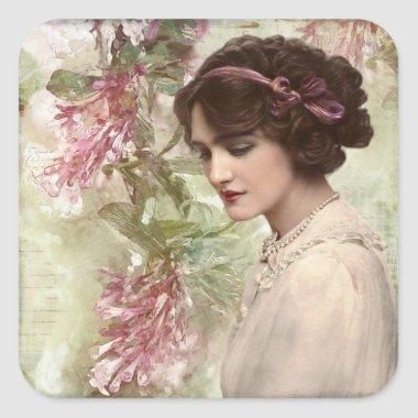 Romantic Victorian Woman Pink Floral Stickers