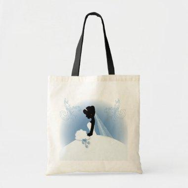 romantic vintage bride silhouette bridal shower tote bag