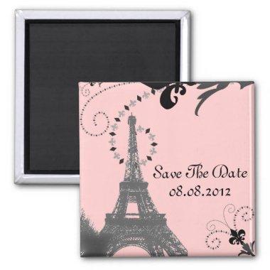 Romantic Vintage eiffel tower Paris Wedding Magnet