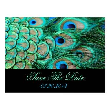 romantic vintage peacock wedding save the date post