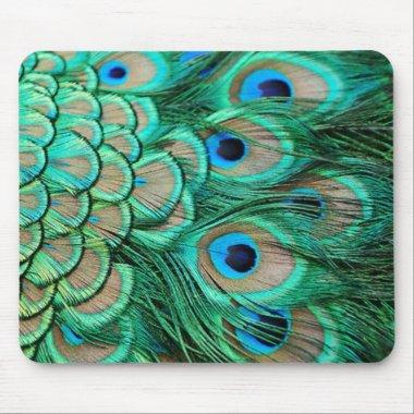 romantic vintage turquoise teal peacock wedding mouse pad