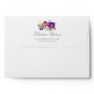 Romantic Violet Floral Envelope w Return Address