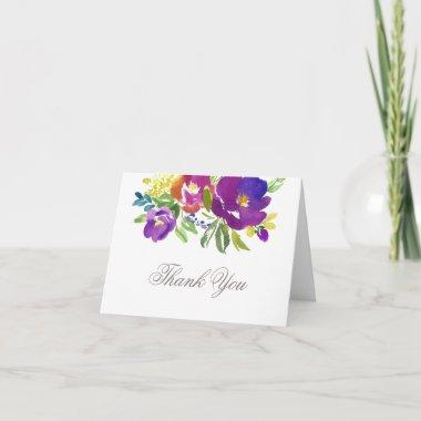Romantic Violet Floral Thank You Invitations
