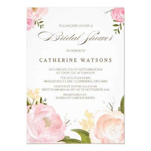 Romantic Watercolor Flowers  Invite