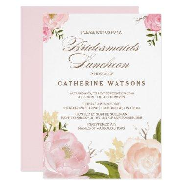Romantic Watercolor Flowers Bridesmaids Luncheon