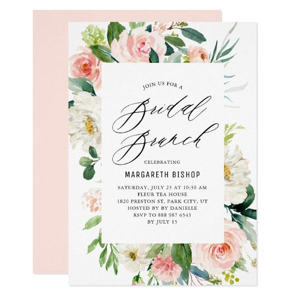 Romantic Watercolor Peach Florals Bridal Brunch Invitations