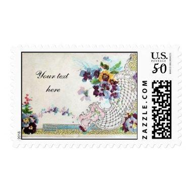 ROMANTİCA Elegant Floral Wedding Basket Pansies Postage