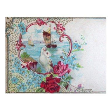 ROMANTICA /ROSES,BLUE FLOWERS,DOVE WITH LETTER POST