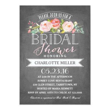 Rose Banner Bridal Shower Invitations
