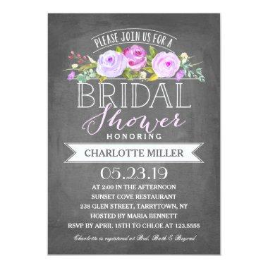 Rose Banner Bridal Shower Invitations Purple