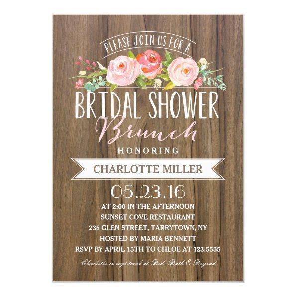 Rose Banner Brunch | Bridal Shower Invitations