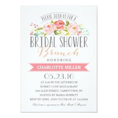 Rose Banner Brunch Bridal Shower Invitations