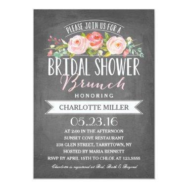 Rose Banner Brunch Bridal Shower Invitations