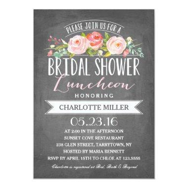 Rose Banner Luncheon Bridal Shower Invitations