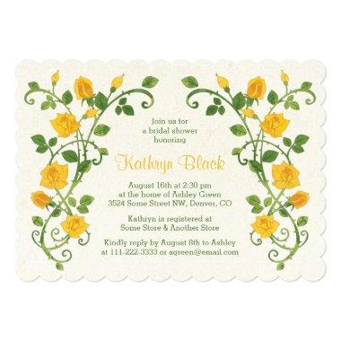 Rose Bridal Shower Invitations | Yellow Watercolor