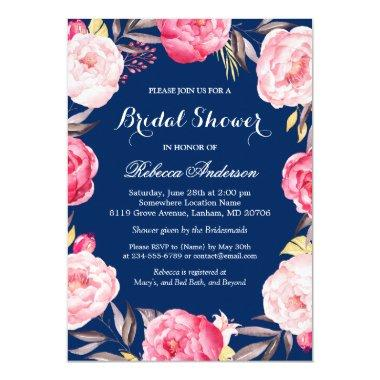 Rose Floral Wreath Navy Blue