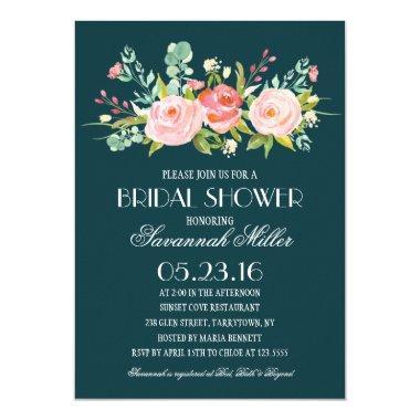 Rose Garden Navy | Bridal Shower Invitations