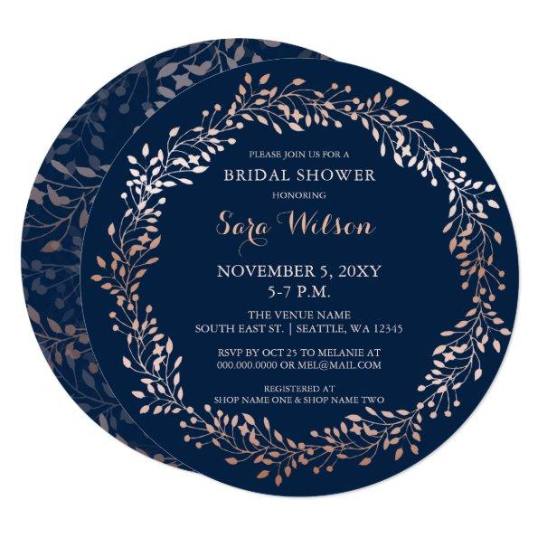 rose gold and navy Floral Bridal Shower Invitations