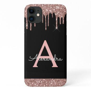 Rose Gold Blush Pink Black Glitter Monogram iPhone 11 Case
