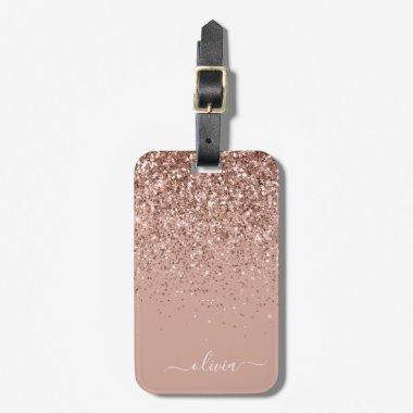 Rose Gold Blush Pink Girly Glitter Monogram Luggage Tag