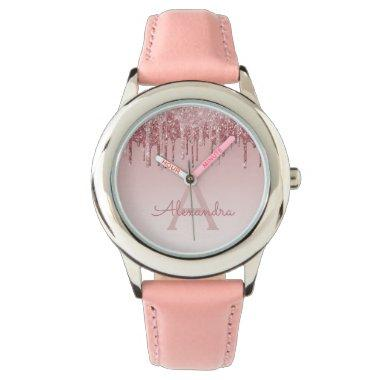 Rose Gold Blush Pink Glitter and Sparkle Watch