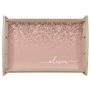 Rose Gold Blush Pink Glitter Script Monogram Girly Serving Tray