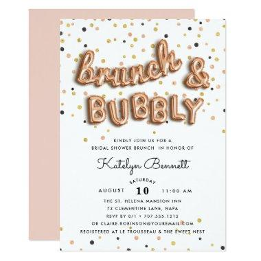 Rose Gold Brunch & Bubbly Bridal Shower Invitations