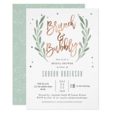 Rose Gold, Brunch & Bubbly, Greenery Bridal Shower Invitations