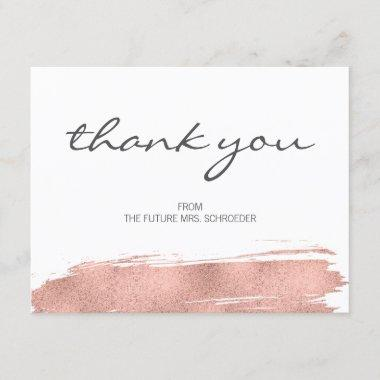 Rose Gold Brushstroke Bridal Shower Thank You Invitations