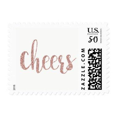 Rose gold cheers stamps, glitter, small postage