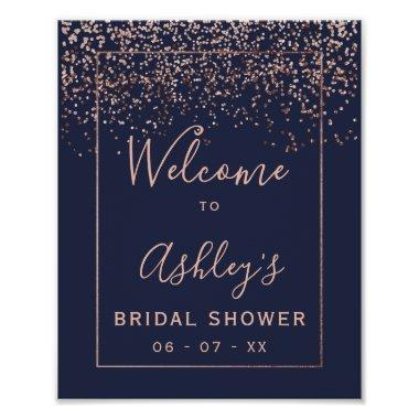 Rose gold confetti navy blue bridal shower welcome poster