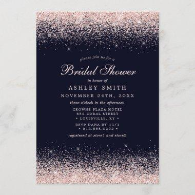 Rose Gold Confetti Navy Blue Modern Bridal Shower Invitations