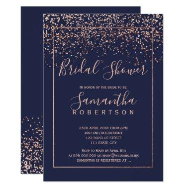 Rose gold confetti navy blue script bridal shower Invitations