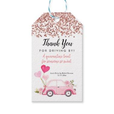 Rose Gold Drive by Bridal Shower Thank You Tag