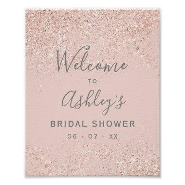 Rose gold glitter blush pink bridal shower welcome poster