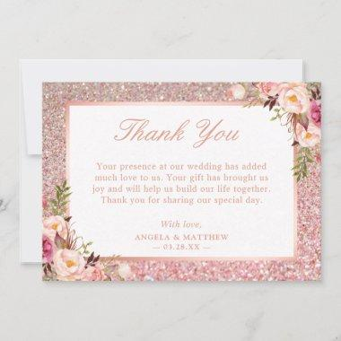 Rose Gold Glitter Blush Pink Floral Thank You