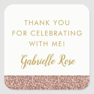 Rose Gold Glitter Favor Sticker Label