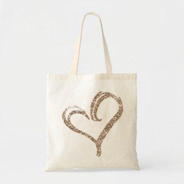 Rose Gold Glitter Love Heart Modern Wedding Tote