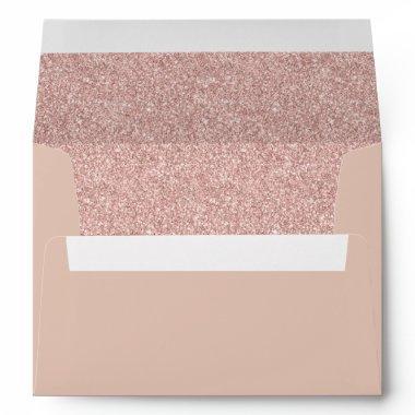 Rose Gold Glitter Modern Elegant Envelope