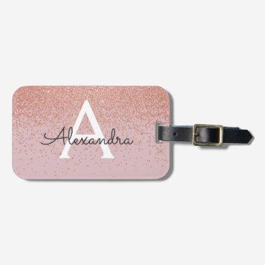 Rose Gold Glitter Monogram Name and Initial Luggage Tag